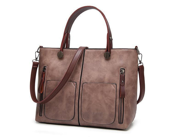 Cera - Double Front Pocket Vintage Tote Handbag