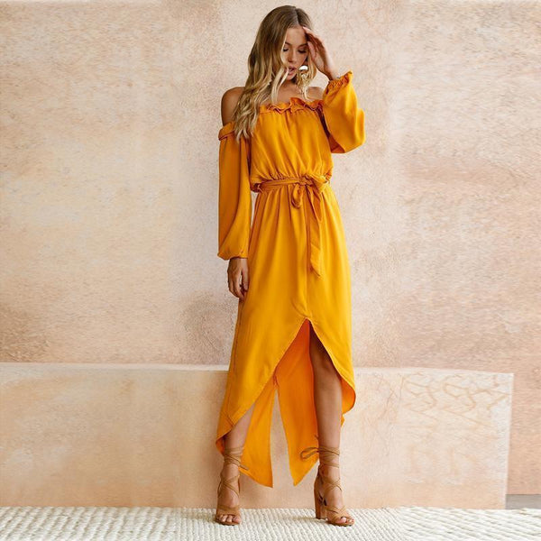 Bella - Off Shoulder Ruffle Maxi Dress