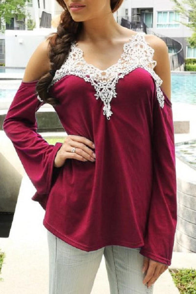Kailey - Cold Shoulder Lace Crochet Blouse