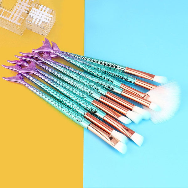 Mermaid Make-Up Brushes - 11 Piece Set