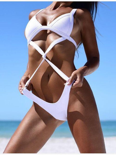 Bandage Wrap One Piece Padded Swimsuit