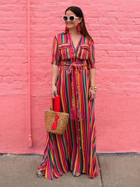 Boho Striped Button Down Maxi Dress