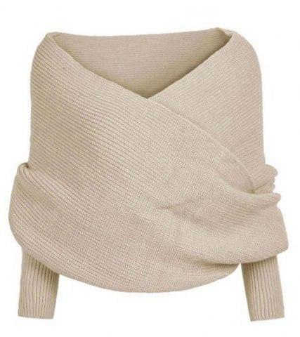 Beige Oversized Trui.V Neck Oversized Wrap Around Knitted Sweater Speak