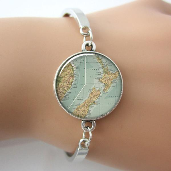 Silver New Zealand Map Bangle - Free Shipping!