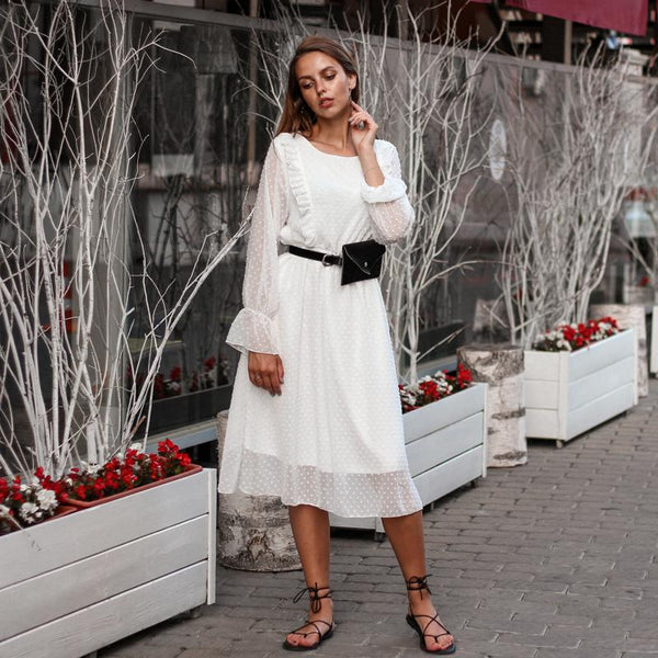 Verona - Long Sleeve Ruffle Dress