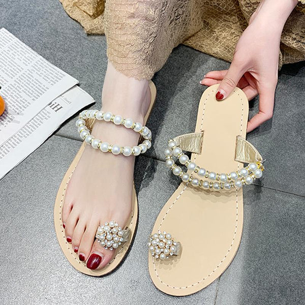 Suzi - Pearl Detail Slip On Sandals