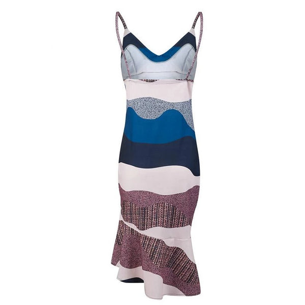 Rumi - Abstract Hem V-Neck Dress