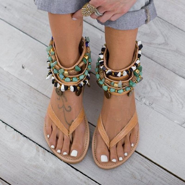 Trea - Gladiator Ankle Bead Sandals