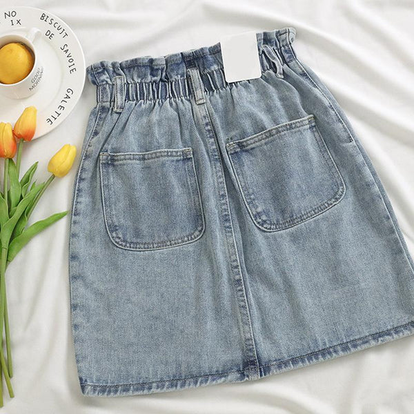 Jespek - Elastic Waist Denim Skirt