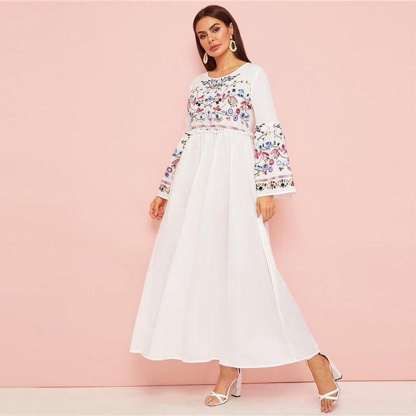 Nevaeh - Embroidered Long Bell Sleeve Maxi Dress
