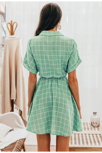 Nadine - Plaid Collared Shirt Dress