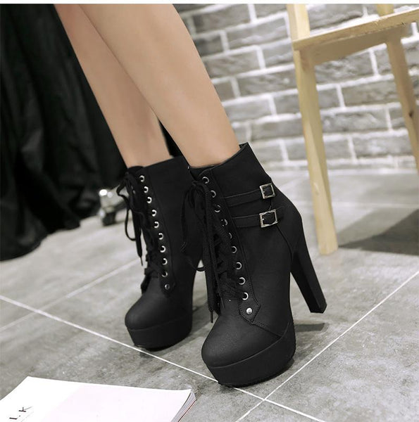 Neve - Lace Up Buckle Ankle Boots
