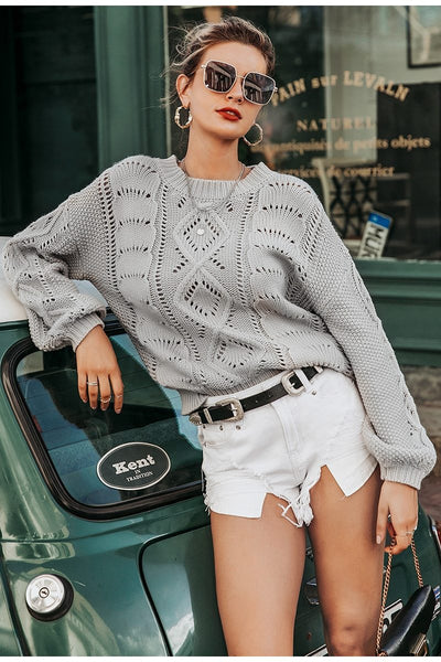 Macy - Lantern Sleeve Knitted Sweater