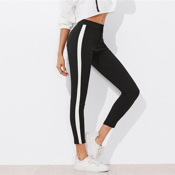 Zubaida - Panel Stripe Skinny Leg Pants