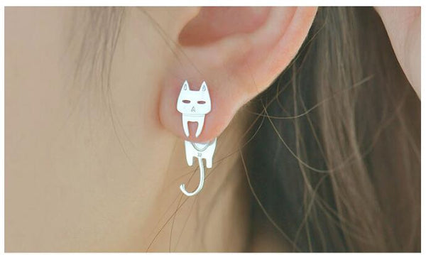 Genevieve - Hanging Cat & Fish Stud Earrings