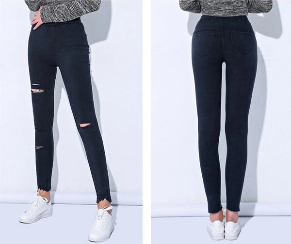 Janet - Distressed Ripped Leggings