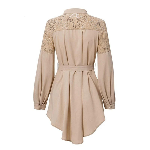 Raelynn - Lace Detail A-Line Belted Dress