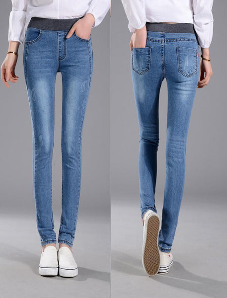 Elastic Waist Stretch Denim Jeans