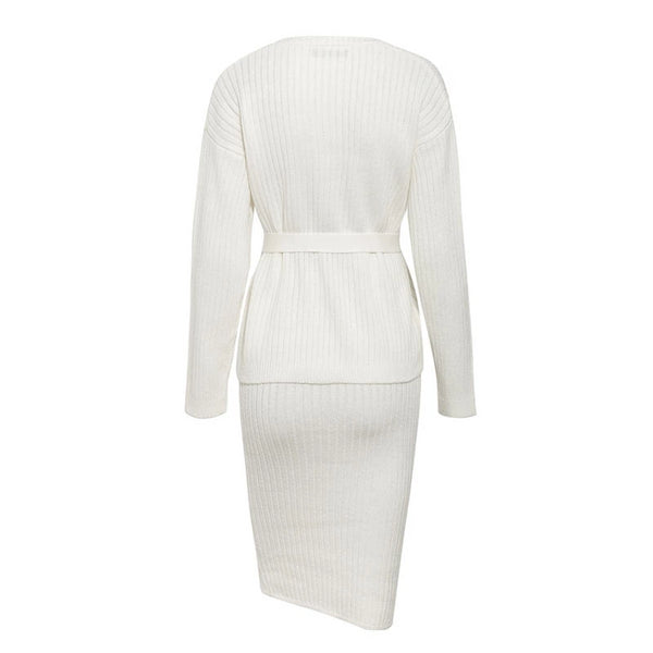 Adeline - Long Sleeve Ribbed Knitted Sweater Dress