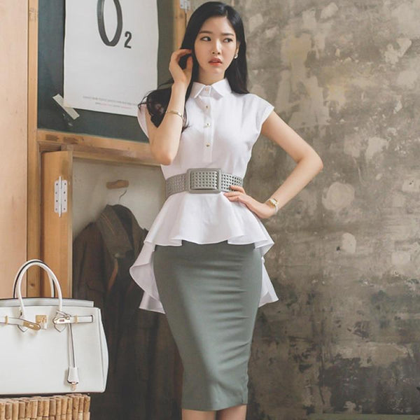Sarina - Two Piece Set Peplum Blouse and Tight Midi Skirt with Belt