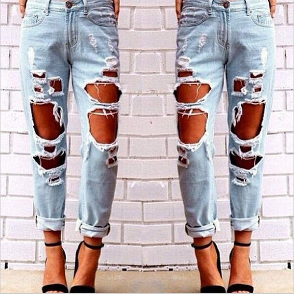 Distressed Slim Leg Boyfriend Denim Jeans