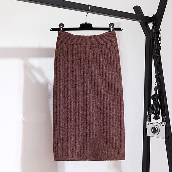 Jayde - Ribbed Knitted Skirt