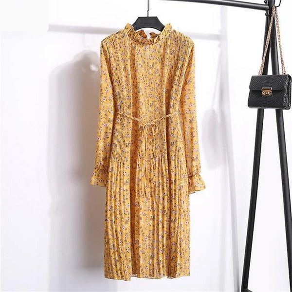 Paisley - Chiffon Pleated Long Sleeve Dress