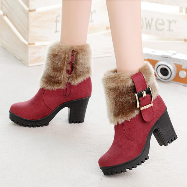 Aliana - Faux Fur Cuff High Rise Ankle Boots