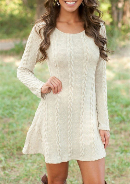 Zuri - O-Neck Long Sleeve Sweater Dress