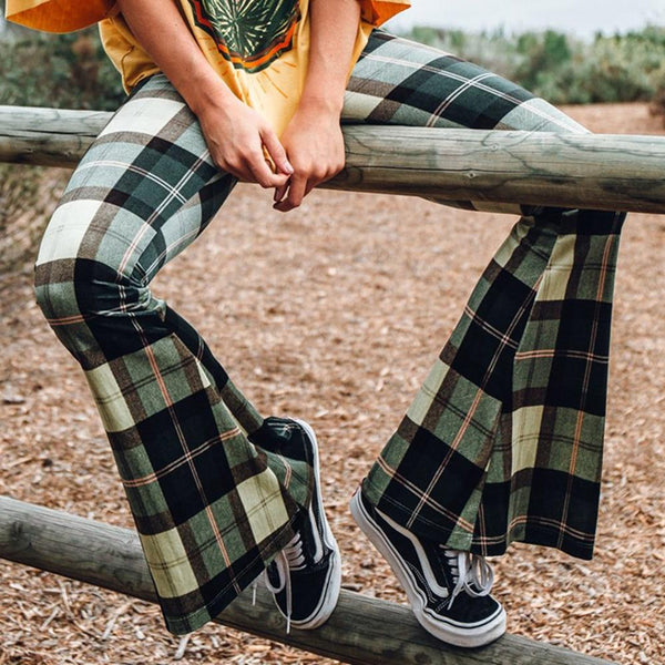 Liv - Vintage Plaid Bell Bottom Pants