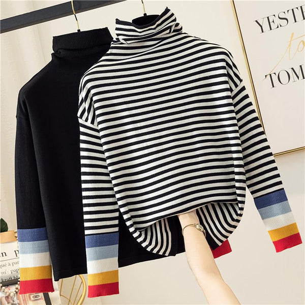 Kehlani - Striped Cuff Turtleneck Sweater
