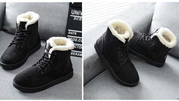 Holly - Fleece Lined Lace Up Snow Boots