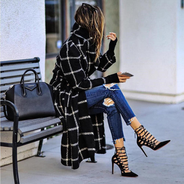 Victoria - Woolen Plaid Coat