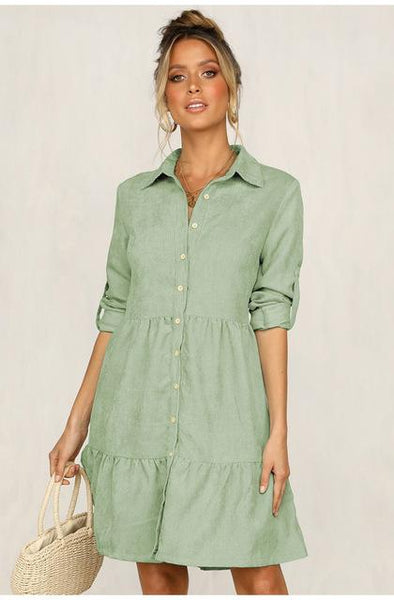 Ikia - Pleated Button-Down Shirt Dress