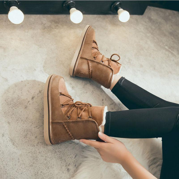 Aubin - Lace Up Fleece Lined Ankle Boots