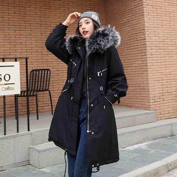 Ramona - Faux Fur Trim Thick Lined Coat