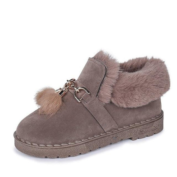 Milana - Plush Cotton Tassel Ankle Boots