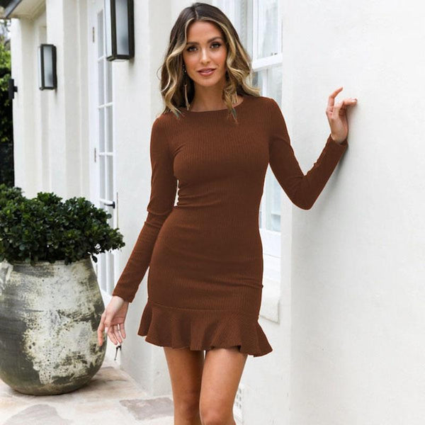 Callie - Long Sleeve Ribbed Knitted Dress