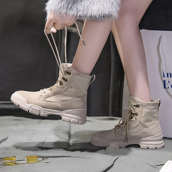 Jerri - Military High Rise Ankle Boots