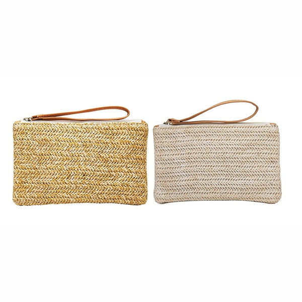 Isadora - Solid Woven Straw Purse