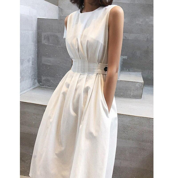 Sofie - Vintage Casual Pleated Mid-Length Dress
