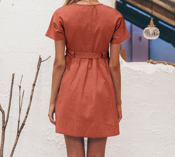 Mabel - Vintage Casual Button Mini Dress