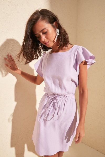 Valeria - Ruffle Sleeve Waist Tie Dress