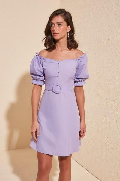 Betty - Off Shoulder Ruffle Sleeve Belted Dress