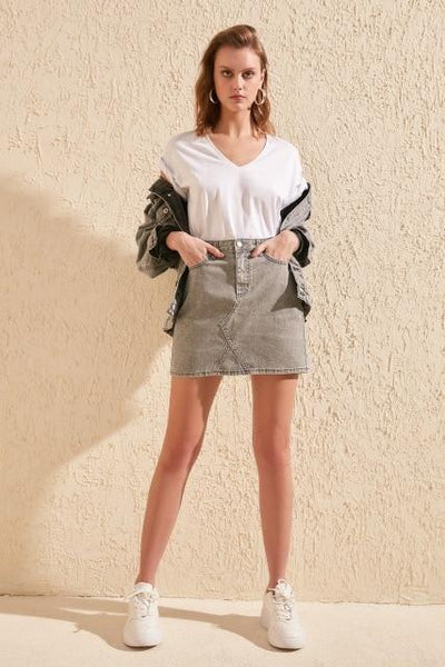 Lion - High Waist Denim Skirt