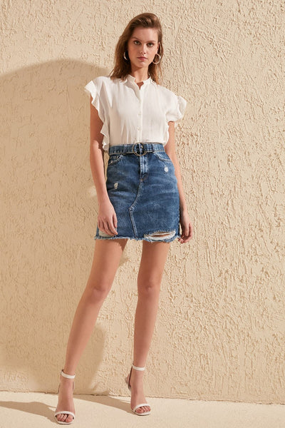 Vanessa - Ripped Detail Denim Skirt