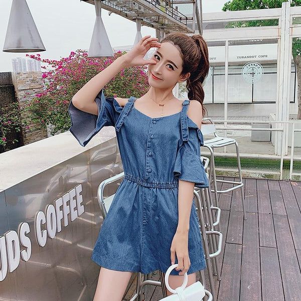 Sabrina - Sexy Back Ruffle Denim Jumpsuit