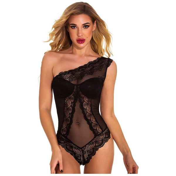 Nikka - See Through One-Shoulder Lace Bodysuit