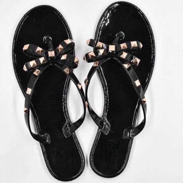 Dara - Bow Knot Rivets Jelly Slip On