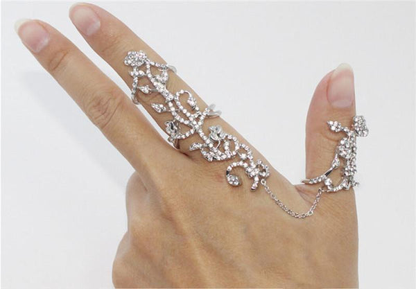 Rhinestone Flower Ivy Ring
